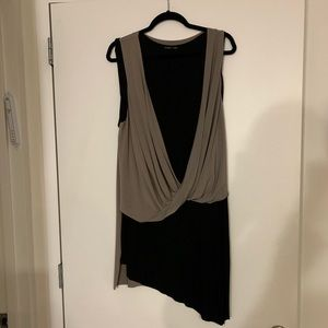 Zara beige and black long layered top L